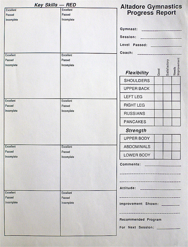 Report Cards  Recreational Gymnastics